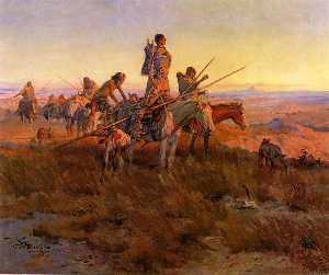 Charles Marion Russell - In the Wake of the Buffal..