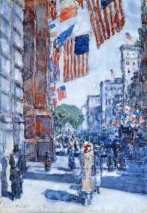 Frederick Childe Hassam - Flags, Fifth Avenue