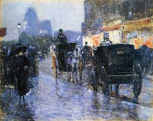 Frederick Childe Hassam - Horse Drawn Cabs at Eveni..