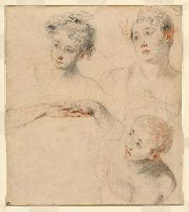 Jean Antoine Watteau - Three Studies of a Woman-s Head and a Study of Hands [recto],