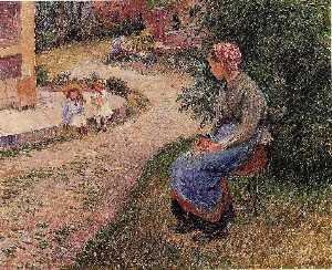 Camille Pissarro - A Servant Seated in the Garden at Eragny