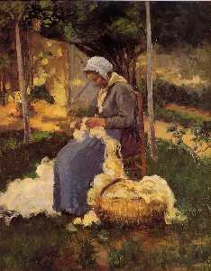 Camille Pissarro - Peasant Woman Carding Wool