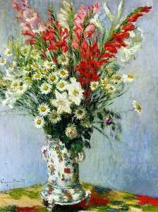 Claude Monet - Bouquet of Gadiolas, Lilies and Dasies