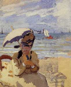 Claude Monet - Camille Sitting on the Beach at Trouville