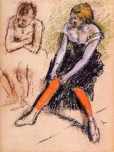 Edgar Degas - Dancer with Red Stockings