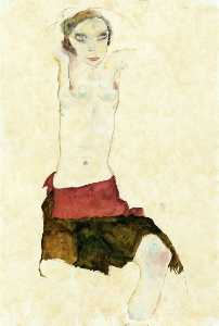 Egon Schiele - Semi Nude with Colored skirt and Raised Arms