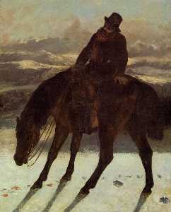 Gustave Courbet - Hunter on Horseback, Redcovering the Trail