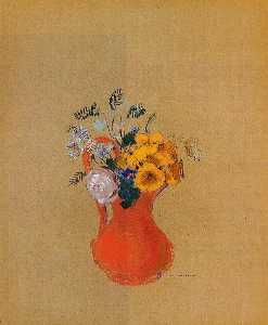 Odilon Redon - Flowers in a Red Pitcher