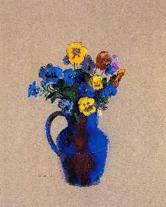 Odilon Redon - Vase of Flowers Pansies