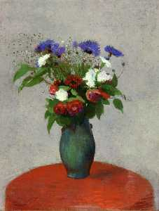 Odilon Redon - Vase of Flowers on a Red Tablecloth