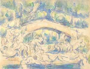 Paul Cezanne - Bathers by a Bridge