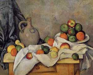 Paul Cezanne - Curtain, Jug and Fruit