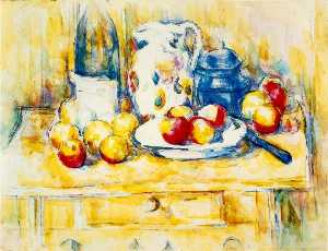 Paul Cezanne - Still Life with Apples, a Bottle and a Milk Pot