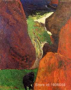 Paul Gauguin - Seascape with cow on the edge of a cliff