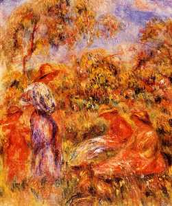 Pierre-Auguste Renoir - Three Women and Child in a Landscape