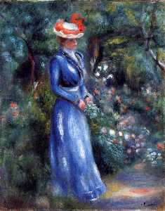 Pierre-Auguste Renoir - Woman in a Blue Dress, Standing in the Garden of Saint-Cloud
