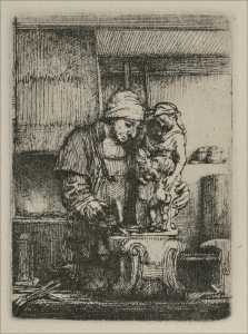 Rembrandt Van Rijn - An Artist Drawing from the Model