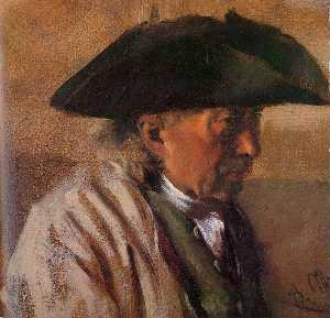 Adolph Menzel - Head of a Peasant with Three-Cornered Hat