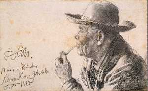 Adolph Menzel - Study of a Man in a Hat with a Pipe