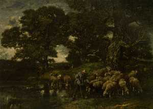 Charles Émile Jacque - A Shepherd and his Flock by a ..
