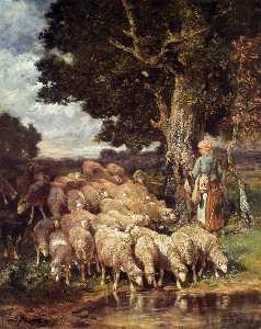 Charles Émile Jacque - A Shepherdess with her Flock n..