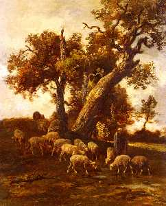 Charles Émile Jacque - Sheep At Pasture