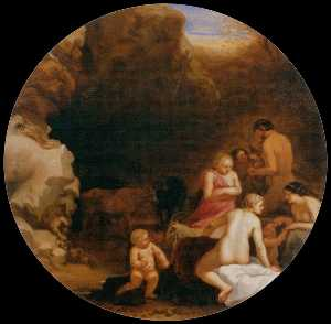 Cornelis Van Poelenburgh - Nymphs and Satyrs at the Entra..