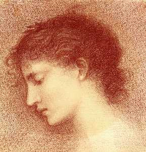 Edward Coley Burne-Jones - Head-Study of Maria Zambaco, probably for -The Wine of Circe-