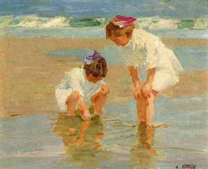 Edward Henry Potthast - Girls Playing in Surf