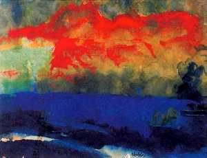 Emile Nolde - Blue Sea and Red Clouds