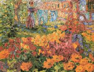 Emile Nolde - Flower Garden (Girl and Washing)