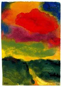 Emile Nolde - Green Landscape with Red Colud