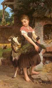 Emile Munier - Farm Girl with her Pet Billy G..