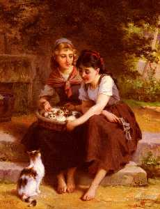 Emile Munier - Two Girls With A Basket Of Kit..