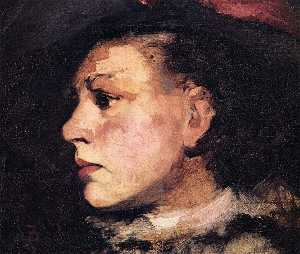 Frank Duveneck - Profile of Girl with Hat