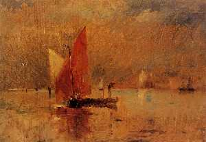 Frank Duveneck - Red Sail in the Harbor at Veni..
