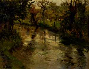 Frits Thaulow - Woodland Scene With A River