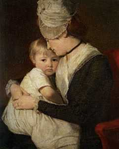 George Romney - Portrait of Mrs Anne Carwardine and her Eldest Son Thomas