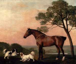 George Stubbs - A Bay Hunter With Two Spaniels