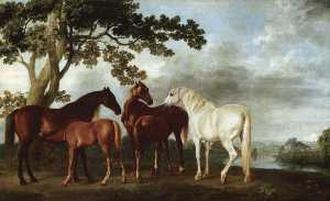 George Stubbs - Mares and Foals in a Rive..