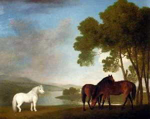 George Stubbs - Two Bay Mares And a Grey ..