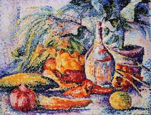 Henri Edmond Cross - Still Life with Bottle of..