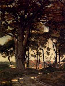 Henri-Joseph Harpignies - Wooded Landscape With A Cart P..