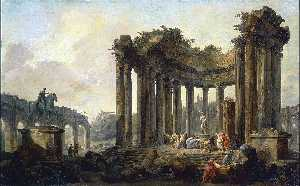 Hubert Robert - Landscape with the Ruins ..