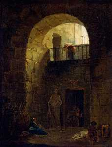 Hubert Robert - Neglected Statue
