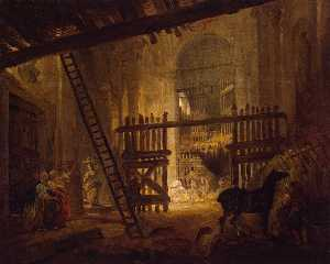 Hubert Robert - Stable in Ruins of the Vi..