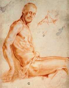 Jacopo Carucci (Pontormo) - Christ seated, as a nude figure