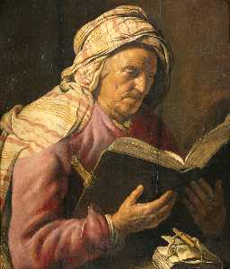Jan Andrea Lievens - Reading old woman