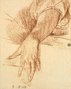 Jean-Baptiste Greuze - Study of a Female Arm Dro..