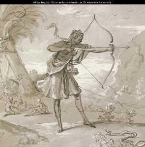Jean-Baptiste Oudry - A female archer in a landscape, a snake to the right
